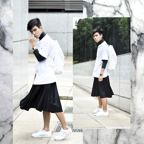 Tominaga - Casio Gold Watch, Nike Long Tee, Adidas White Leather Backpack, Forever 21 Black Leather Skirt, Adidas All White Superstar - BLACK LEATHER SKIRT
