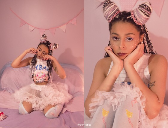 Shady Kleo - Happy Monday Crybaby Top, White Tutu Skirt, Pastel Teddy & Balloon Socks, Primark Spiral Hairbands, Sugar Coated Sprinkles Choker - CRY BABY