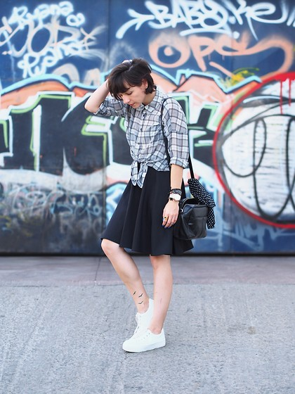 Fashionella ♥ - Forever 21 Plaid Shirt, Castro Black Skirt, Asos White Sneakers - Plaid Shirt - B&W