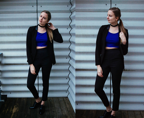 Agnija - Only Black Balzer, H&M Crop Top, Asos Black Pants, Truffle Flat Shoes - Casual