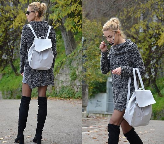 ASIA (IN &OUT BLOG) - Sheinside Backpack, Stradivarius Boots, Zara Jumper - Backpack..