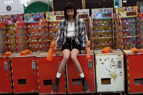 "Vu Thien - Vulgar Crop Shirt, Motel Vintage Leather Skirt, Dr. Martens 1460 Boots - "" TEAR THAT B*TCH APART """