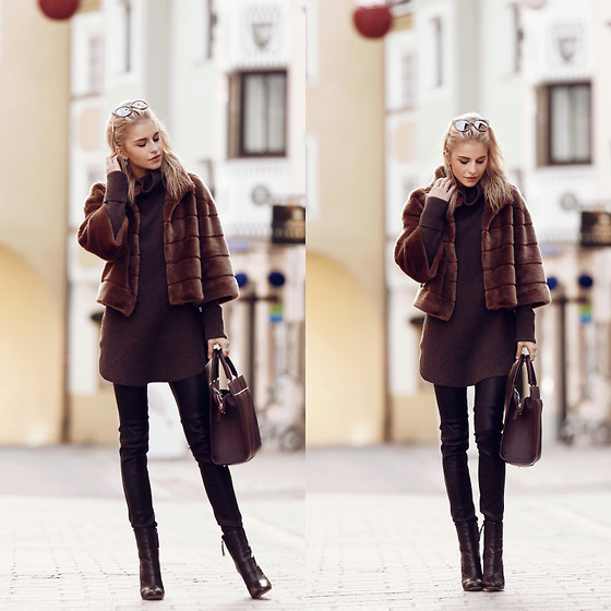 Caro Daur - Hallhuber Jacket, Bogner Sweater, Hallhuber Pants, Zara Shoes, Aigner Bag, Jimmy Choo Sunglasses - Fakefur