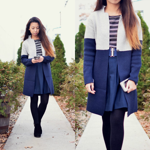 Melanie P. - Cndirect Coat, Lord And Taylor Striped Top, Tommy Hilfiger Pleated Skirt - On the Go in Winter