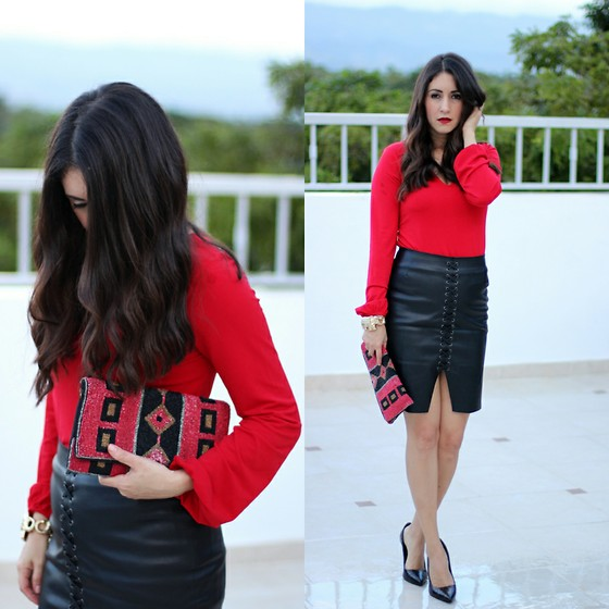 Anyelina G. - Express Red Top, H&M Black Leather Skirt - Black And Red Is Always a Good Idea