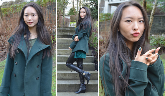 Julie Tao - H&M Green Coat, Streetwear Society Shiny Black Pants, Dexflex Comfort Black Gold Buckle Wedge Booties, Streetwear Society Green Cardigan, Divided Olive Green Daydreamer Crop Shirt - The Green Coat I've Been Waiting For