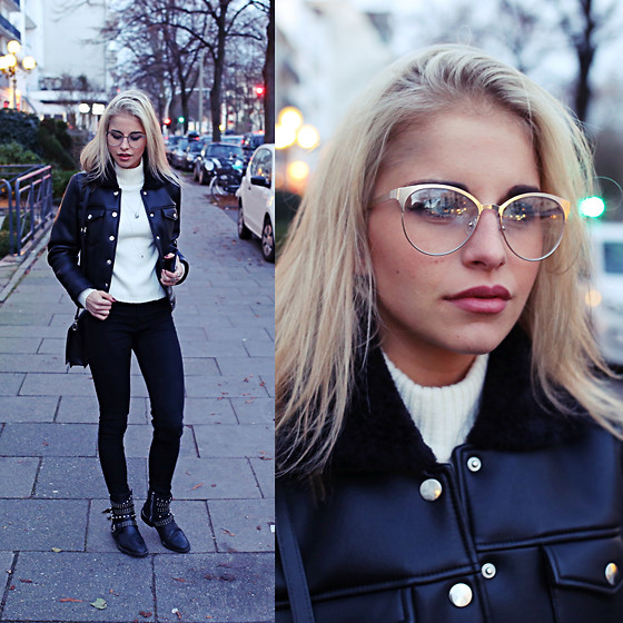 Caro Daur - Gina Tricot Jacket, Topshop Pants, Mango Shoes, Zara Glasses, Bag, Asos Pullover - Fake fur collar