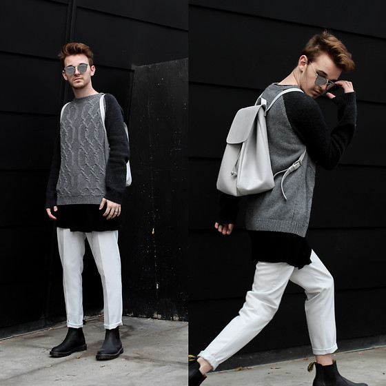 Drew Scott - Forever 21 Knit Sweater, Topman Long Tee, Zara Cropped Trousers, Dr. Martens Chelsea Boots, Dior Homme Mirrored Sunnies - Reflection