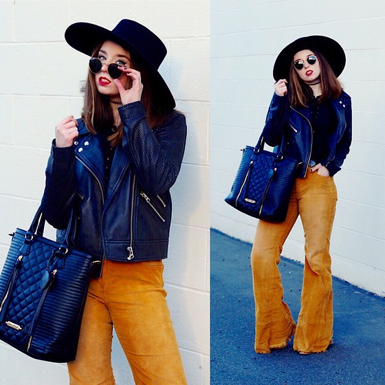 The Indie Girl Fleming - Free People Corduroy Bell Bottoms, Nasty Gal Retro Leather Jacket, V1969italia Bag, Nasty Gal Boater Hat - Nostalgic