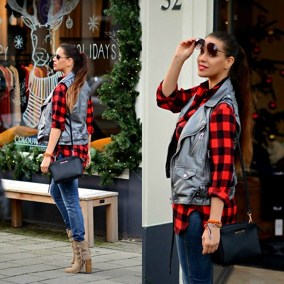 Tamara Chloe - Supertrash Leather Vest, Michael Kors Bag, Zara Ankle Boots - Red Plaid