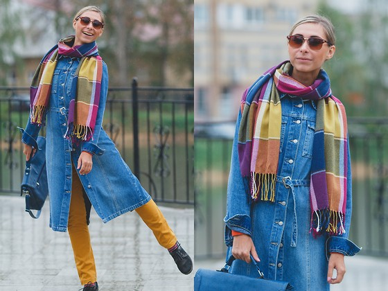 Anna Sever - Zara Pants, Cndirect Scarf - Jeans coat