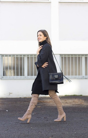 Ina Nuvo - Zara Cape Coat, Asos Dress, Asos Overknees, Calvin Klein Bag - Over the knee boots