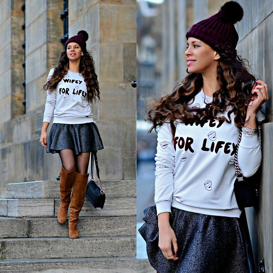 Tamara Chloe - Skirt, Colourful Rebel Sweater, Chanel Bag, River Island Beanie - Wifey For Lifey