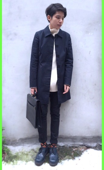 Kai Chi Lao - Inc Coat, Cheap Monday Pants, Dr. Martens Shoes - ▲ #‎green #frosty #cold #winter #sweater #inc。▲