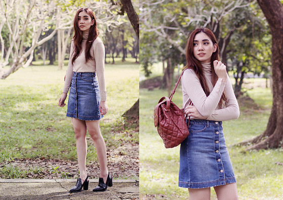 Aileen Belmonte - Zara Turtleneck Sweater, H&M Denim Skirt, Charles And Keith Boots - 90's