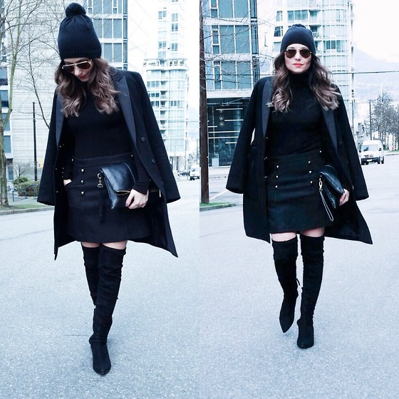 Aurela Lacaj - Hm Coat, Topshop Skirt - Black on Black !