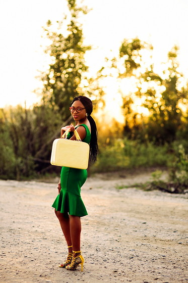 Louisa Moje - Urban Outfitters Yellow Luggage Purse, Asos Green Peplum Hem Dress - Green with Envy