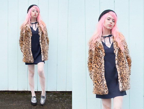 Kailey Flyte - Forever 21 Leopard Print Faux Fur Coat, Dahlia Navy Dress, T.U.K. Footwear Holographic Creepers, Larmoni Beret - Beau