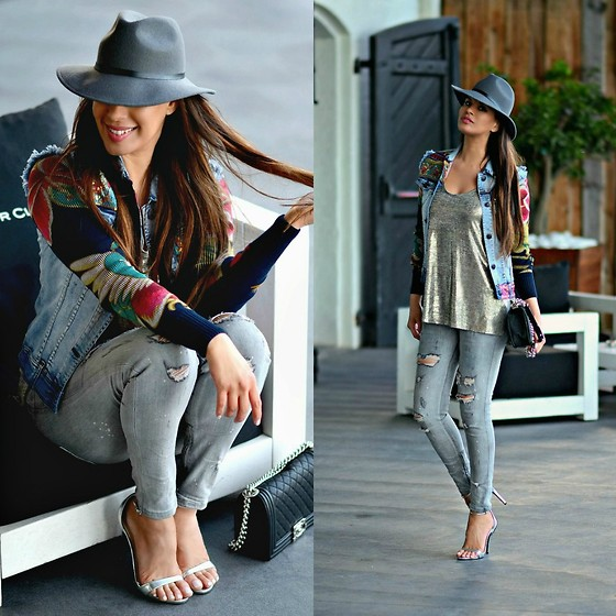 Tamara Chloe - Desigual Denim Jacket, Chanel Bag, Zara Jeans, Zara Heels, Zara Shirt, River Island Hat - Floral Sleeved