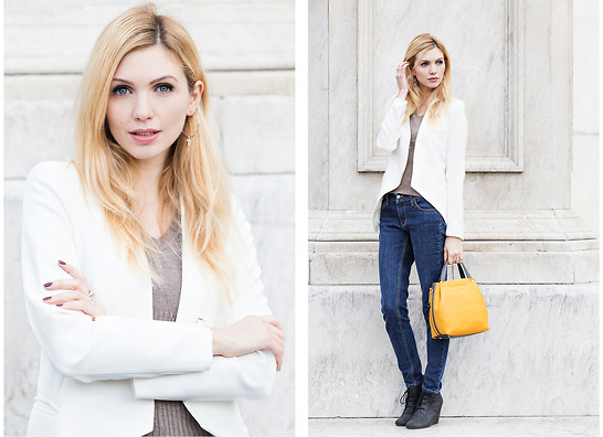 Eleonora Albrecht - Farenella Bag, Shaft Jeans Blue, Stress Collection Blazer, Jack & Co. Cross Jewels - Blue shiny jeans