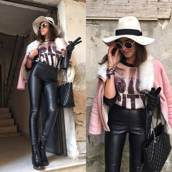 Fransi - Moschino Bag, H&M Pants, Bershka Shoes - Black leather& powder pink