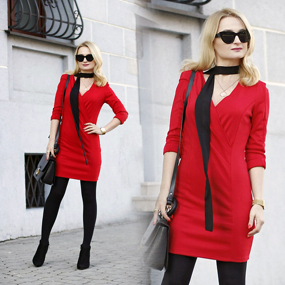 Daria Darenia - Asos Cateye Glasses, Artelioni Gold Necklace, Answear Skinny Scarf, Romwe Red Dress, Barada Bag - Time For Love