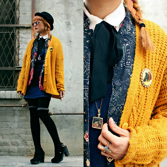 KENDALL SANCHÈZ - Mustard Oversized Cardigan, Vintage Horse Brooch, Pussy Bow Blouse, Vintage Patterned Coat, Chicwish Gem Necklace, Quartz Ring, Denim Bodycon Dress, Rocket Dog Clogs, Round Black Hat - .Cosmic Sass- Good Morning.