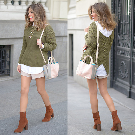 Helena Cueva - Shein Sweater, Abbacino Handbag, Zara Shorts - Green Sweater