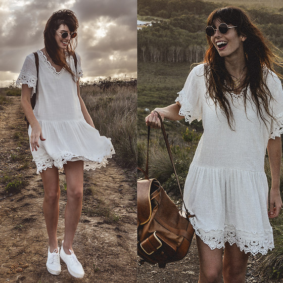 Elle-May Leckenby - Adira Ivory Dress, Circle Sunglasses, Santa Cruz Backpack - High on le hilltops