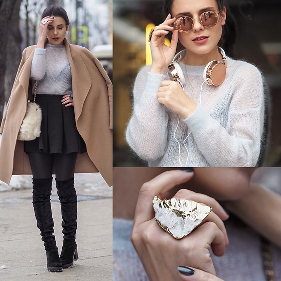 Yana P - H&M Boots, & Other Stories Ring, H&M Headphones, Coat, Skirt, Ray Ban Sunglasses - Rose