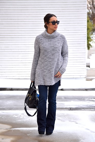 Melissa De Leon - Westward Leaning Black Sunglasses, Anthropologie Gray Oversized Sweater, Madewell Gold Stack Ring, 7 For All Mankind Flare High Waist Denim, 3.1 Phillip Lim Pashli Black Tote, Zara Black Heeled Bootie - Snowed In