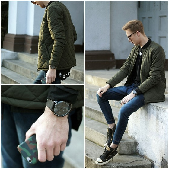 Adrian Kamiński - Cropp Jacket, Giuseppe Zanotti Shoes, Watch - STREET 190216