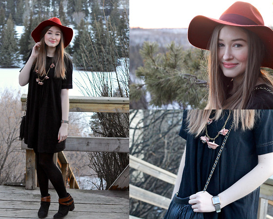Taylor Doucette - Fringed Purse, H&M Floppy Hat, Old Navy Shift Dress, Target Leather Strap Booties, Marc By Jacobs Rose Gold Square Watch - Re: Stacks- Bon Iver