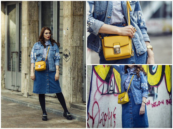 Daniela Macsim - Romwe Denim Fever, Zara Denim Skirt, Trussardi Yellow Bag, Zara Shirt - Denim fever