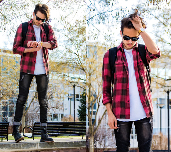Corey Z - Koto Red And Black Flannel, Feathers Twisted Neck T Shirt, Other Uk Distressed Biker Jeans, Dr. Martens Pier Boots, I Love Ugly Archibald Watch, Herschell Little America Backpack, Ray Ban Matte Black New Wayfarers - Out and About