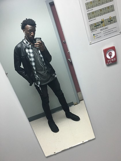 Joe - Timberland 6 Inch Boots, H&M Ripped Skinny Jeans, Manhattan Grey Vintage Faded Longline, Forever 21 White Twill, H&M Leather Biker Jacket - Andante's Hope