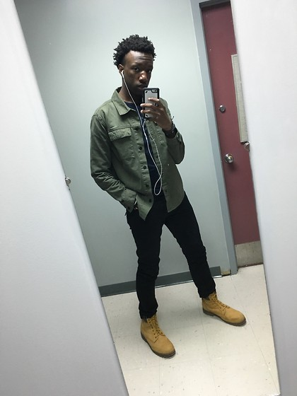 Joe - Timberland 6 Inch Boots, H&M Skinny Jeans, Forever 21 Casual Jacket, H&M Longsleeve Henley - East Liberty