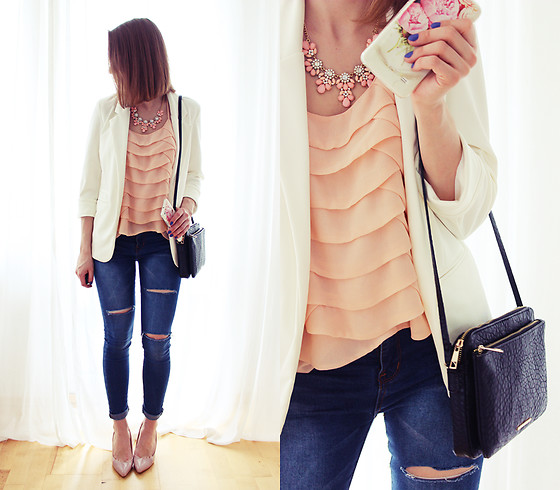 Marta S. - Sheinside White Blazer, Romwe Navy Slim Pants, Asos Peach Cami Top, Bonprix Black Bag - Spring is coming