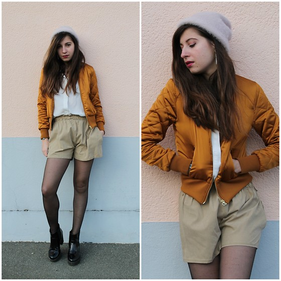 Elo' Cupcake - H&M Bomber Jacket, Cndirect Shorts, H&M Beanie, H&M Blouse, New Look Chunky Boots - III.III.MMXVI