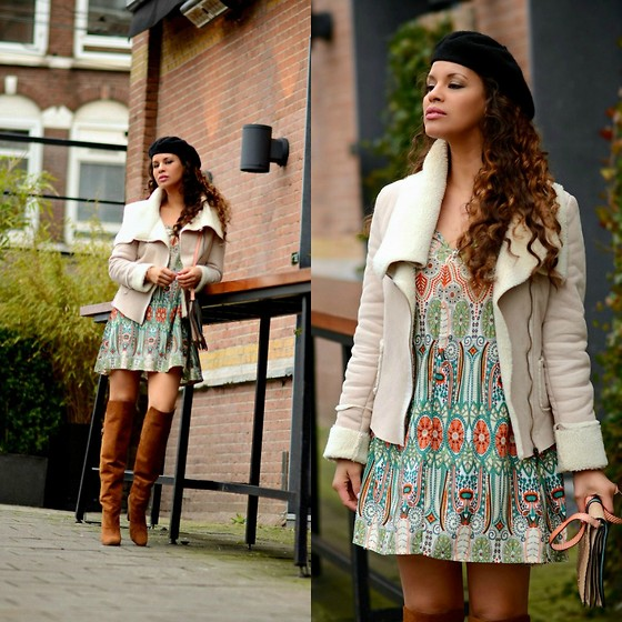 Tamara Chloe - Shein Dress, H&M Over The Knee Boots, Nasty Gal Beret, Supertrash Bag - Shearling