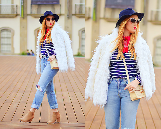 Nery Hdez - Oliver Peoples Sunglasses, Zara Jeans, Stradivarius Fur Coat - Bandana Touch