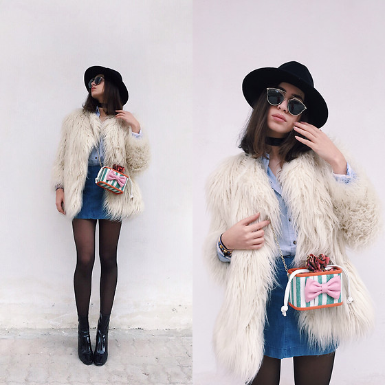 Fransi - Zara Boots, H&M Fur, H&M Hat, Christian Dior Sunglasses, Zara Skirt - Sunday look