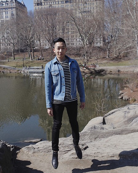 Haley Ma - Acne Studios Jam Light Jacket, Haley Ma Striped Tee, Acne Studios Black Jeans - Droppin In