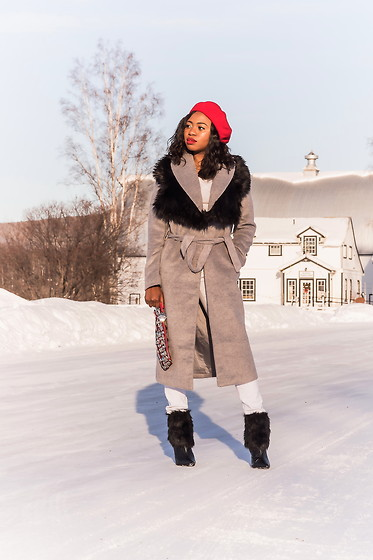 Louisa Moje - Red French Beret, Boohoo Black Faux Fur, Missguided Gray Longline Coat, Shoedazzle Black Faux Fur Bootie - Snow White