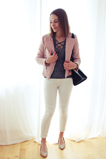 Marta S. - Sheinside Pink Jacket, Romwe Lace Up Blouse, White Slim Pants, Sheinside Black Shopper Bag, Calvin Klein Beige Shoes - CASUAL LOOK