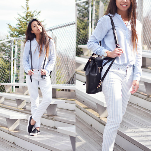 Melanie P. - Boylymia Mini Backpack, Light Blue Button Down Blouse, Forever 21 Striped Pants, Airwalk Perforated Slip Ons - Spring Stripes