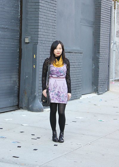Mary G - Free People Purple Sleeveless Dress, American Apparel Turtleneck Dress, Lace Turtleneck, Vintage Lace Up Boots, Coach Vintage Shoulder Bag - Two Dresses and A Turtleneck