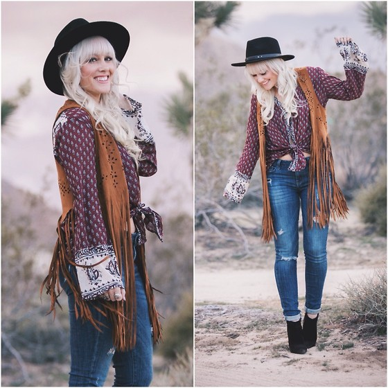 Kari Jane Ballesteros - Forever 21 Faux Fringe Vest, Billabong Peasant Top, Forever 21 Black Hat, Levis Ripped Jeans - Joshua Tree