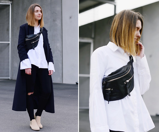 Diana K - Coat, Shirt, Shoes - White bell sleeves