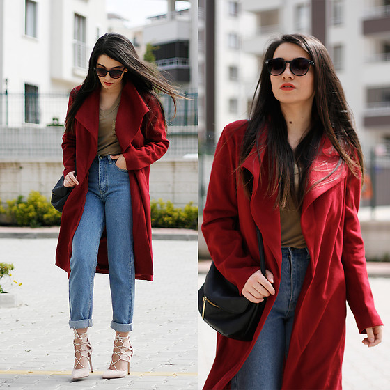 Melike Gül - Romwe Coat, Dresslink Lace Up Heels - Wine Red
